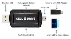 Cell Drive with micro-USB plus adaptors
